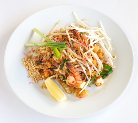 Thai food padthai fried noodle with shrimp Stock Photo - 17540714
