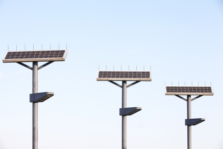 solarpower: Street Lamp with Solar Panel  Stock Photo