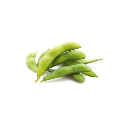 soya: edamame nibbles, cocidos los frijoles de soya verdes, comida japonesa Foto de archivo