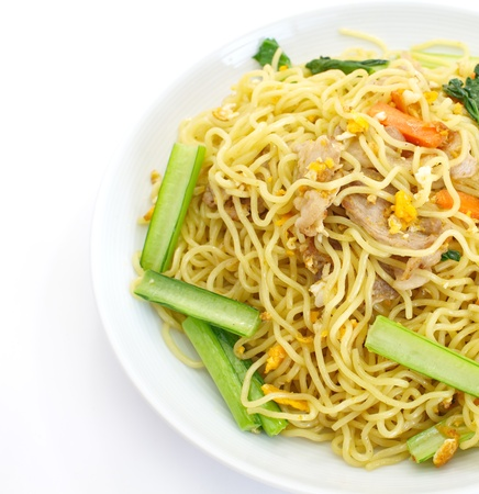 yi mein: chinese stir-fried noodles  Stock Photo