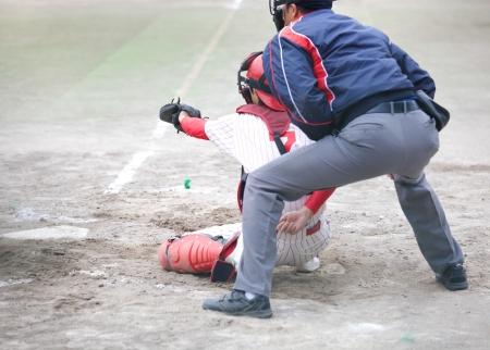 Baseball catcher ready to catch