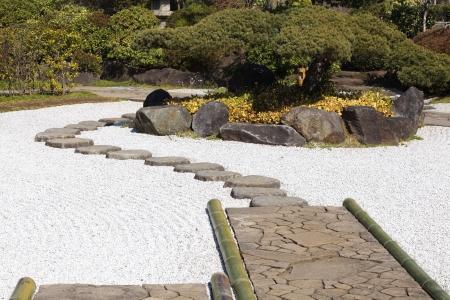 japanese garden surrounding with trees Stock Photo