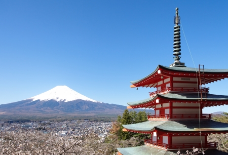 japan sky: Mountain Fuji in spring ,Cherry blossom Sakura  Stock Photo