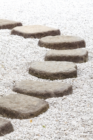 Japan zen stone pathway in a garden  photo