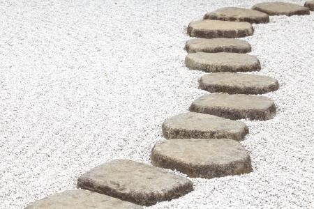 Japan zen stone pathway in a garden  photo