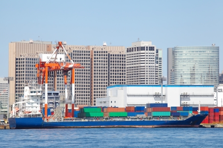 Container ship in the harbor  photo