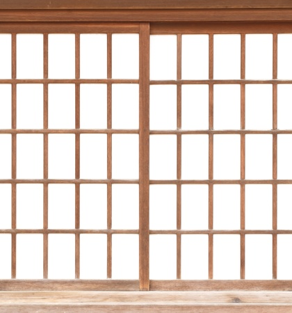 windows and doors: texture of Japanese sliding paper door Shoji Stock Photo