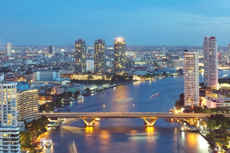 river scape: chao phraya river city scape Bangkok Thailand