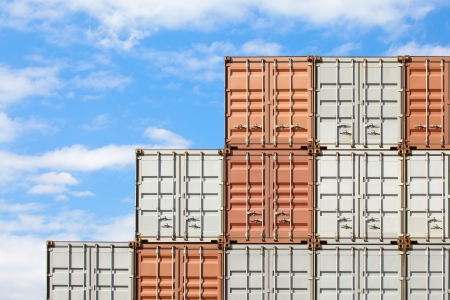 freight shipping containers at the docks  photo