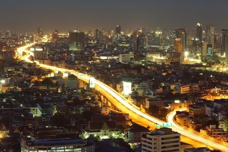 Bangkok Freeway to City Top View at dusk in bangkok, Thailand