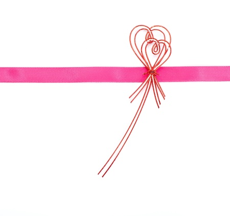 Pink ribbon bow on white background  photo