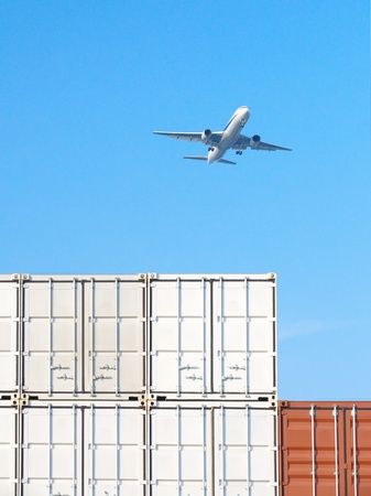 Containers shipping and airplane photo