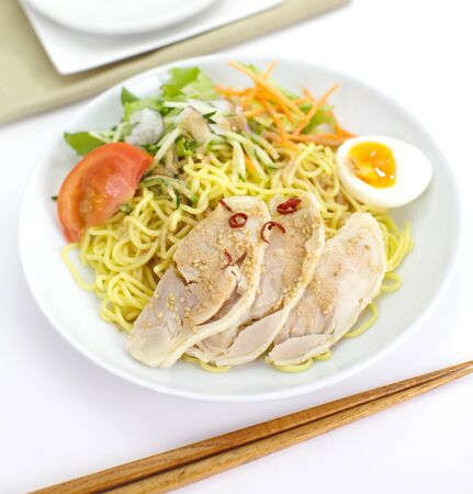 mian: dry noodles with salads