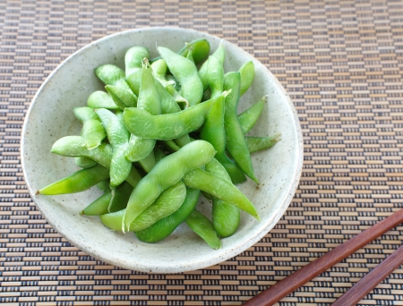 shuck: edamame nibbles, boiled green soy beans, japanese food