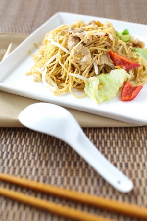 mee pok: chinese stir-fried noodles  Stock Photo