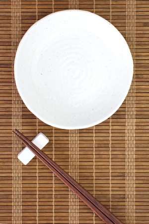 close up food: Chopsticks and Asian table setting  Stock Photo