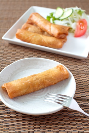Fried Egg  spring rolls  photo