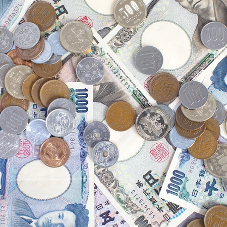 yen note: Japanese YEN note and coin Stock Photo