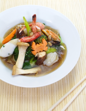 Pan fried noodles with seafood photo