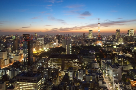 Cityscape of Tokyo city at twilight
