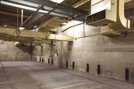 Old Empty underground parking lot area