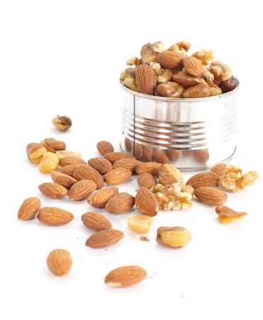 mixed nuts: Assorted mixed nuts on white background