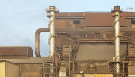 View of Pollution heavy industrial iron plant photo