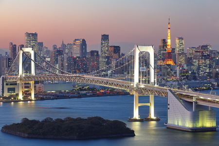View of Tokyo City at night with Rainbow Bridge and Tokyo Tower photo