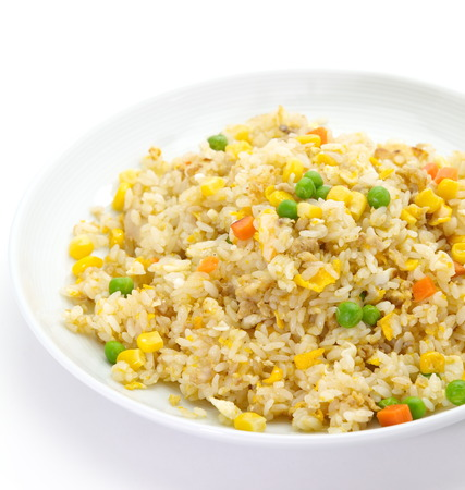 Chinese Cuisine - Fried Rice with Vegetables and Meat  Stock Photo
