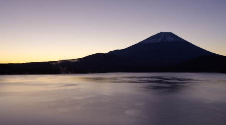 Mountain Fuji in autumn season at sunrise time from Motosu lake photo