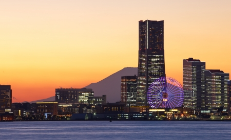 Yokohama city over the Mt  Fuji  photo