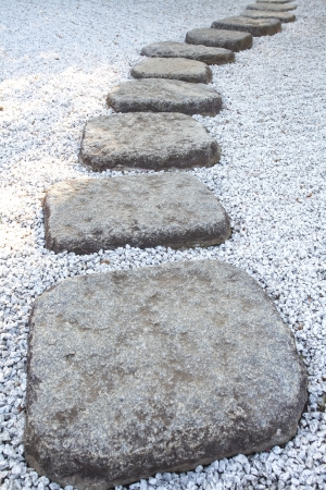 Zen stone path in a Japanese Garden  photo