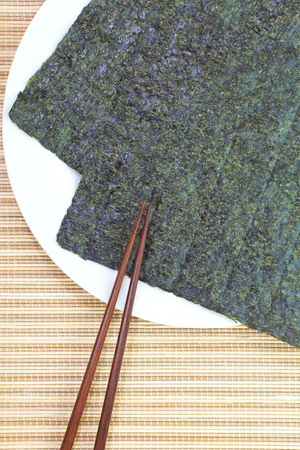 Several strips of dried seaweed sheets photo