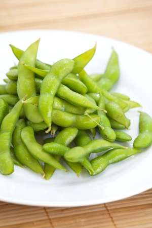 close up of Edamame soy beans  photo