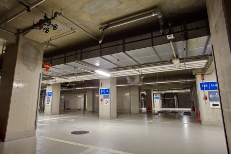 Parking garage underground interior photo