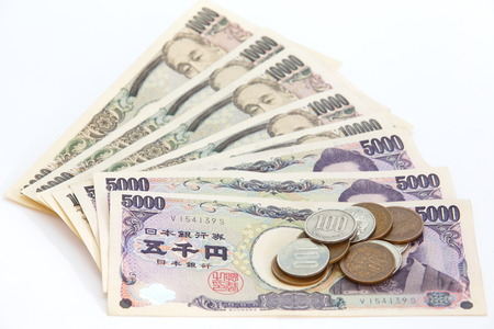 yen: Japanese YEN note and coins  Stock Photo