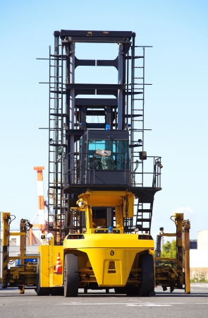 Forklift is stacking container