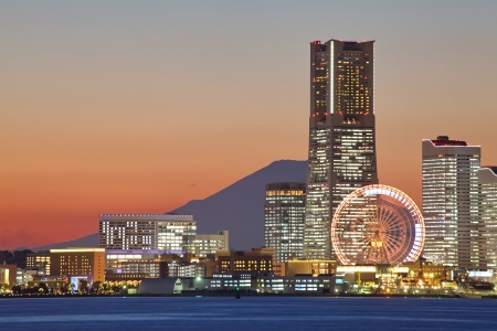 Yokohama city over the Mt  Fuji
