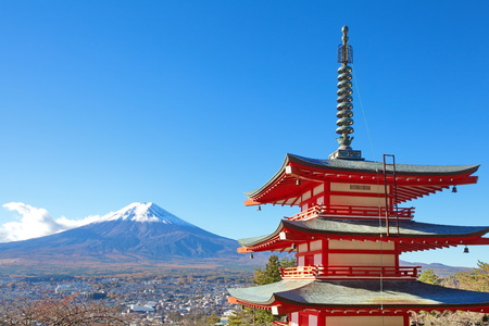 Mountain Fuji in winter season , view from  chureito pagada