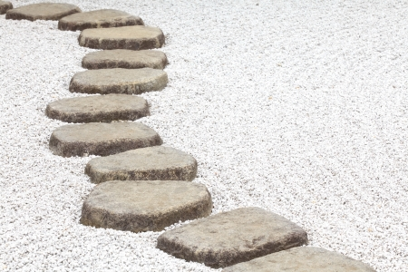 zen water: Zen stone path in a Japanese Garden