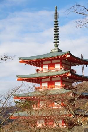 kawaguchi ko: landscape from chureito pagada at Kawaguchiko city , japan  Stock Photo