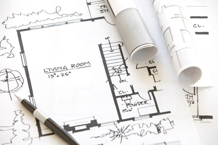 architecture plans: Architect rolls and plans architectural plan  Stock Photo