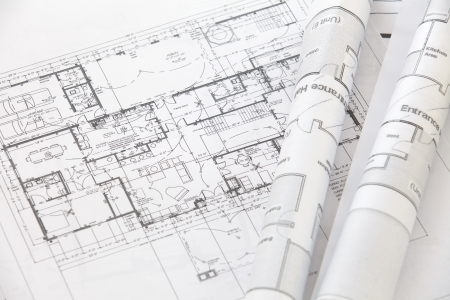architect office: Architect rolls and plans architectural plan  Stock Photo