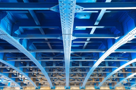 steel frame: steel construction from under the bridge