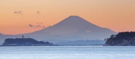 enoshima: Mountain Fuji at sunset time from Sagami bay , Kamakura city Stock Photo