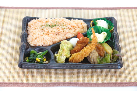 Contemporary Japanese ready-made lunchbox  bento box  photo