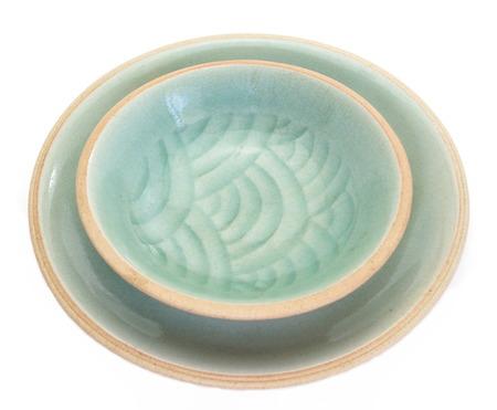 Celadon ceramic dishes , Thai Celadon on white background
