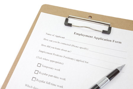 Directly above photograph of a job application Stock Photo