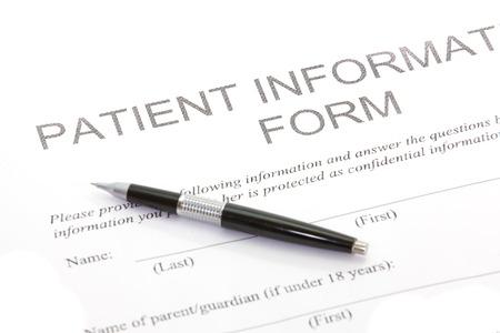 historia clinica: Formulario del Paciente Foto de archivo