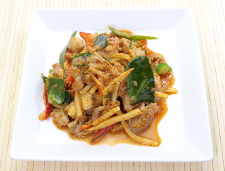 savory curry with chicken and bamboo photo